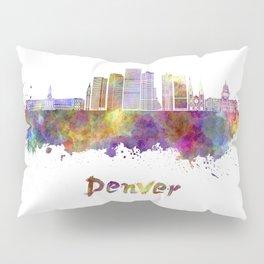 Denver skyline in watercolor Pillow Sham