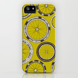 bike wheels chartreuse iPhone Case