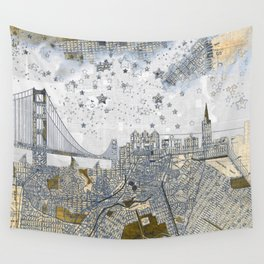 San Francisco skyline old map Wall Tapestry