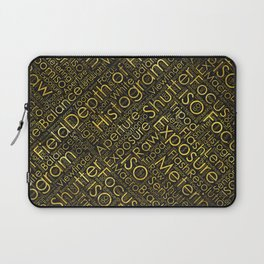 Photography Terms Word Cloud Pattern Gold on Black Laptop Sleeve