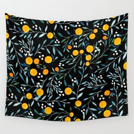 Oranges Black Wall Tapestry