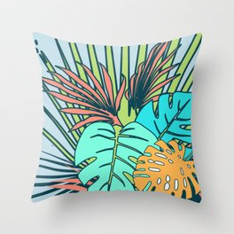 Tropical leaves blue Throw Pillow