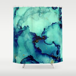 Navy Seas- Blue Green Abstract Painting Shower Curtain