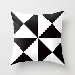 Geometric Pattern #45 (black white triangles) Throw Pillow