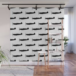 WW2 UK Fighter Aircraft silhouettes Wall Mural