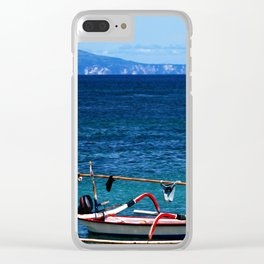 Bali - Row Boat in the ocean Clear iPhone Case