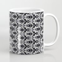 damask Mugs featuring Black Damask  by Elena Indolfi
