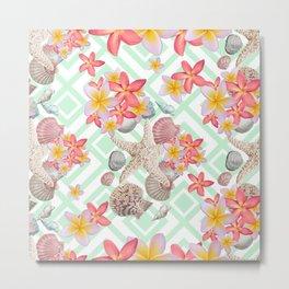 Modern tropical flowers seashells geometric design Metal Print