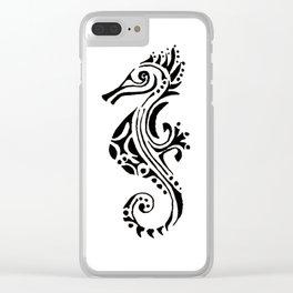 seahorse tatoo white Clear iPhone Case
