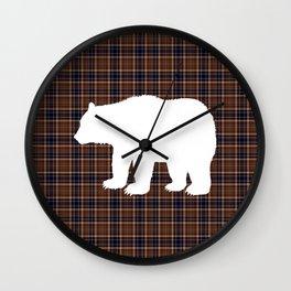 Plaid Bear Wall Clock
