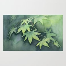Japanese Maple Watercolor Green Leaves Tree Branch Nature Rug