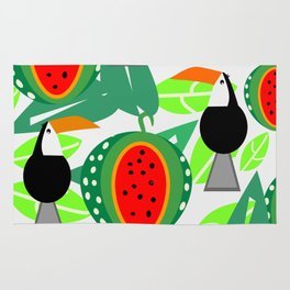 Toucans and watermelons Rug