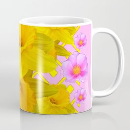 Yellow Daffodils & Pink Roses Abstract Coffee Mug