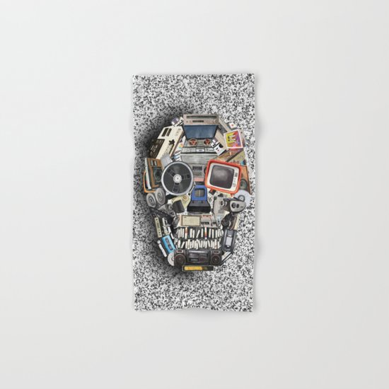 retro tech skull 5 Hand & Bath Towel