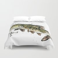 trout Duvet Covers featuring Lake Trout by Mt Zion Press
