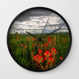 Brighten the Day - Indian Paintbrush Wildflowers in Eastern Oklahoma Wall Clock
