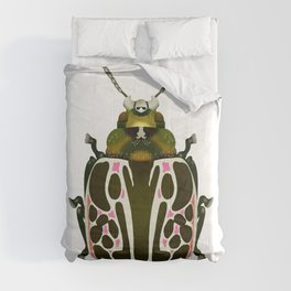Green, White, Pink Beetle Comforters