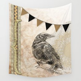 Crow, Brown Banner, Doily, Digital Design Wall Tapestry