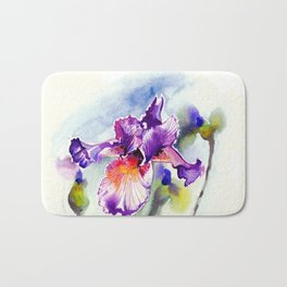Purple Iris With Buds, Floral Watercolor Bath Mat