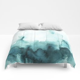 Soft teal abstract watercolor Comforters
