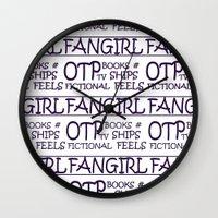 fangirl Wall Clocks featuring Fangirl by amyskhaleesi