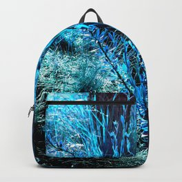 alien landscape indigo blue green forest surreallist Backpack
