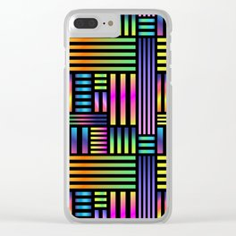 90's Neon Ombre Stripes Clear iPhone Case