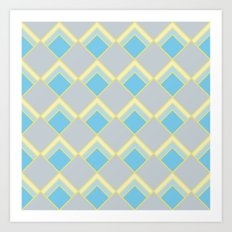 Diamond Art Deco; - Blue Art Print