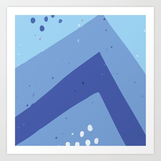 Abstract Geometric Modern Art Monochromatic Background In Cool Blue Color Gc 118 6 Art Print By Graphiccharms Society6