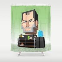 steve jobs Shower Curtains featuring Steve Jobs 3D pixel portrait by Metin Seven