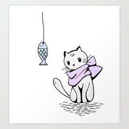 Little cat and a death fish Art Print