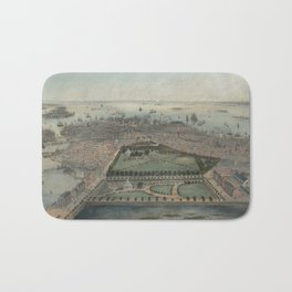 Vintage Pictorial Map of Boston MA (1850) Bath Mat