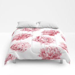 Pink Rose Garden on White Comforters