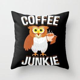 Coffee Junkie Owl Caffeine Coffee Lover Throw Pillow