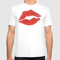 fire engine red lips Mens Fitted Tee White MEDIUM