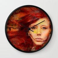 irish Wall Clocks featuring Irish fairy by Ganech joe