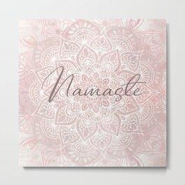 Pink Mandala, Namaste Greeting, Yoga Metal Print