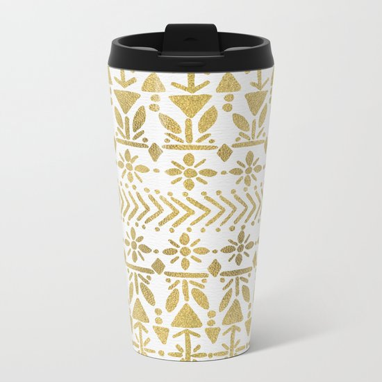 Norwegian Pattern – Gold on White Metal Travel Mug