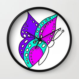 childishly Hand drawn butterfly Wall Clock