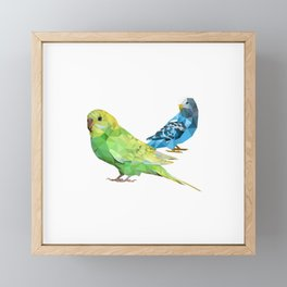 Geometric green and blue parakeets Framed Mini Art Print