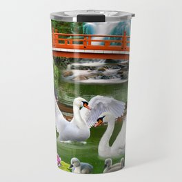 Swans and Baby Cygnets in an Oriental Landscape Travel Mug