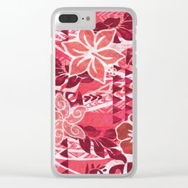 Red Hibiscus Polynesian Tapa Clear iPhone Case