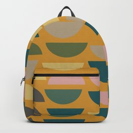 Geometric Graphic Design Shapes Pattern in Mustard Yellow Backpack