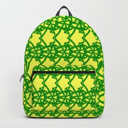 Braided openwork pattern of wire and green arrows on a yellow background. Backpack