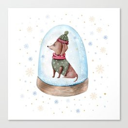 Dog Snow Globe (1) Canvas Print