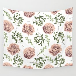 Roses Pattern on White Wall Tapestry
