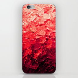MERMAID SCALES 4 Red Vibrant Ocean Waves Splash Crimson Strawberry Summer Ombre Abstract Painting iPhone Skin