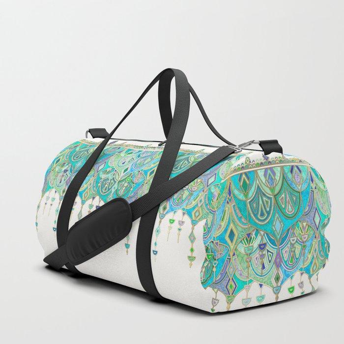 Art Deco Double Drop in Jade and Aquamarine on Cream Duffle Bag