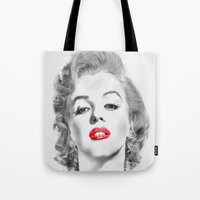 marylin monroe Tote Bags featuring Marylin by Ticopage designs