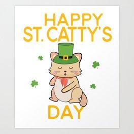 Happy St Cattys Day Cute Irish Patricks Day Cat Design Art Print
